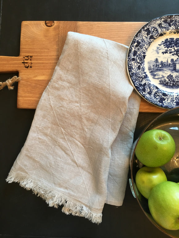 European French Linen Tea Towel in Pewter