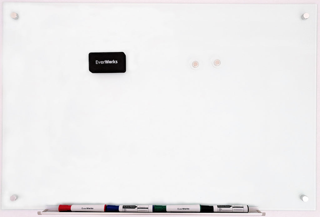 23 58 X 35 12 Modern Frame Less White Dry Erase Magnetic Glass