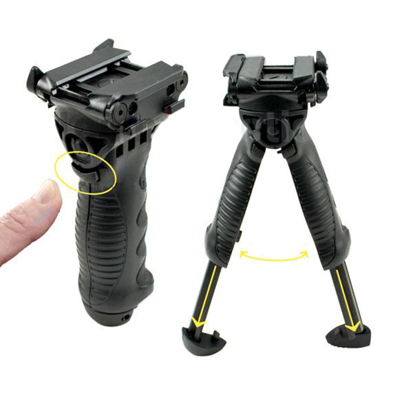 TACPOOL Heavy Duty Retractable Bipod Foregrip Adjustable Height