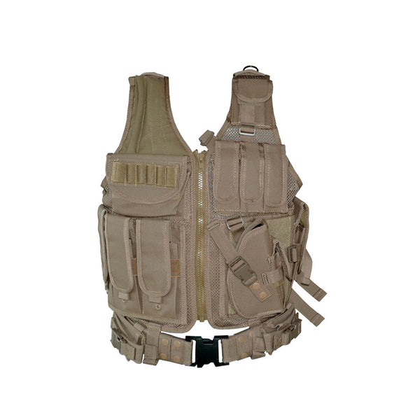 TACPOOL Tactical Multi Function Molle Plate Hunting Vest Black / Tan / Green Camo