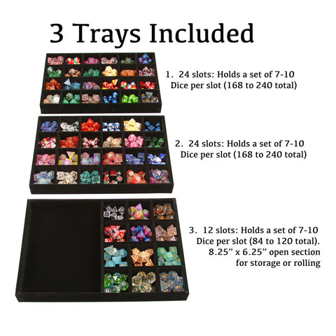 Dice Display Case and Rolling Tray with 3 Removable Divided Dice Trays - Storage Box Holds up to 720 Metal or Plastic Polyhedral Dice Sets