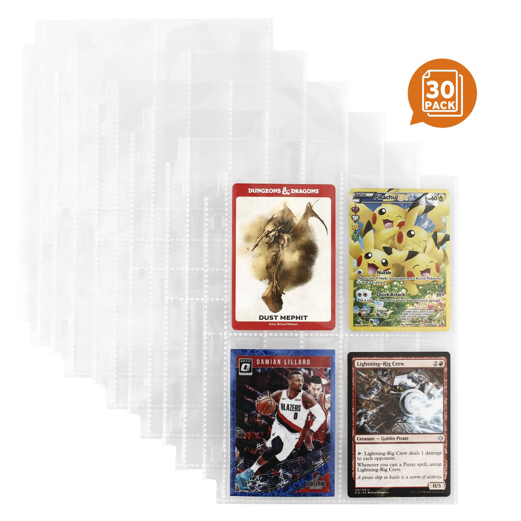 "4 Pocket Pages Pack of 30-2 5/8"" x 3 3/4"" Pocket - 6"" x 8"" Page Size - Fits Mini Binder 3 Ring Binders and Monster Card Binder - Fits Monster Spellbook Pokemon Baseball Magic Cards"