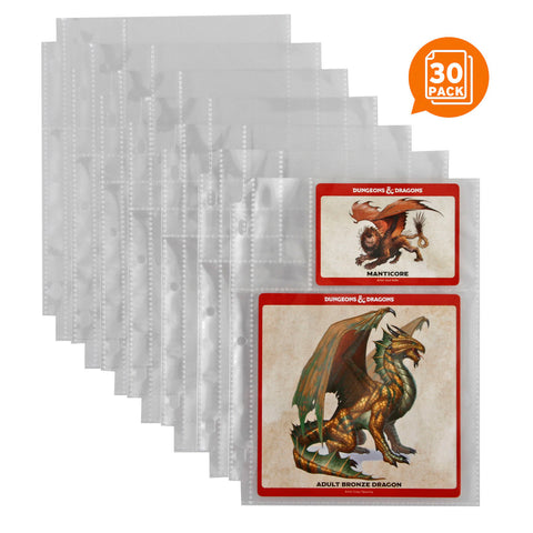 "EPIC Monster Card Pages Pack of 30 - 6"" x 8"" Page Size with 5.25 x 5 and 2.5 x 3.5 Card Slots - Fits Mini Binder 3 Ring Binders Folders and Monster Card"