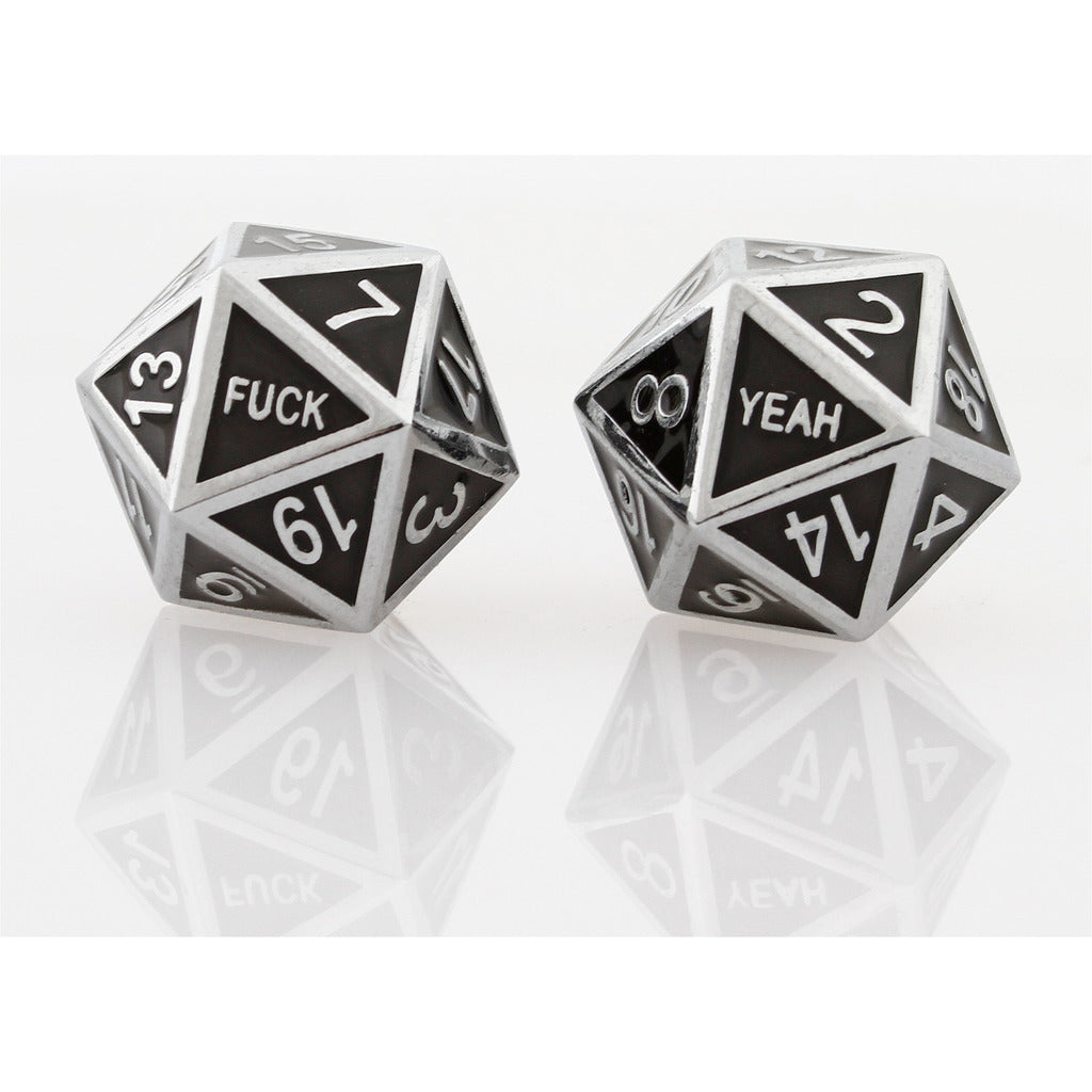 FUCK YEAH Guardian Silver Black Set of 2 D20 Dice