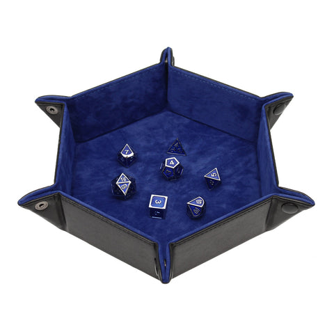 Hexagon Snap Dice Tray 6.5 Inches - Folds Flat - PU Leather and Felt