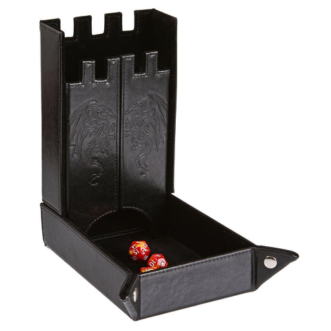 Draco Castle Foldable Dice Tray and Dice Tower - Foldable DND Dice Tray and Dice Rolling Tray Tower