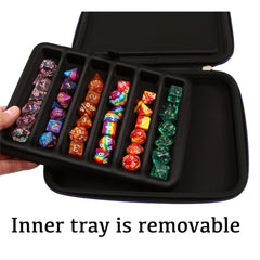 Dice Storage Case with Removable Slotted Tray - Storage Box Holds 42 Metal or Plastic Polyhedral Dice