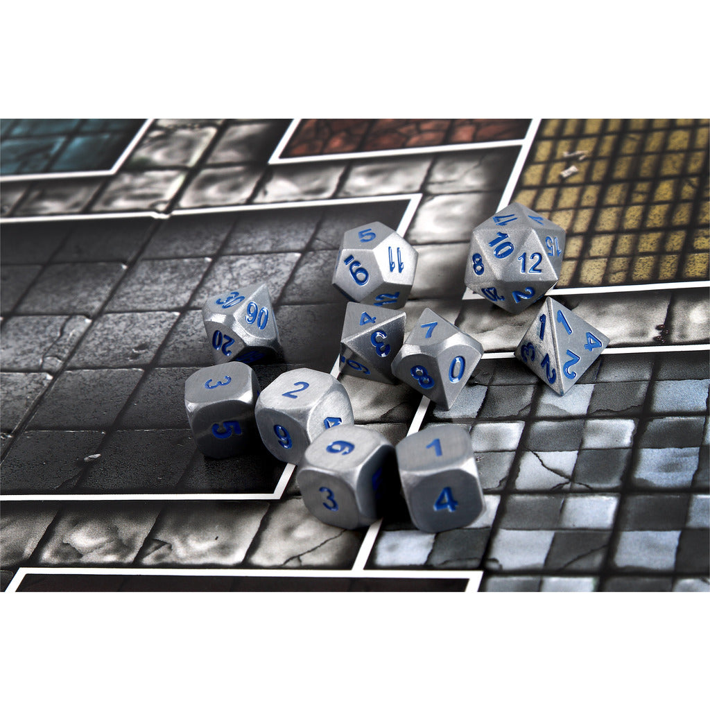 BATTLE STEEL SILVER & BLUE Numbers Set of 10 with Extra D6 Dice