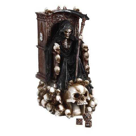 Grim Bones Grim Reaper Dice Tower - Heavy Duty Resin and Hand Painted Dice Rolling Tower with Light Up Skull