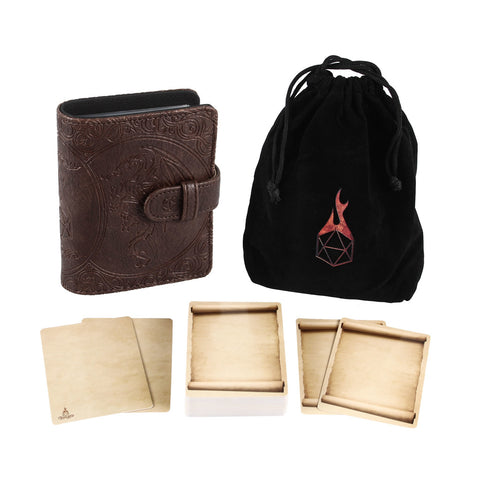 Book of Incantations (Dragon Edition) & Deck of Dry Erase Spell Cards with Velvet Storage Bag - Spellbook Cards Holder for Spell or Monster Cards