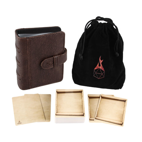 Book of Incantations (Tome Edition) & Deck of Dry Erase Spell Cards with Velvet Storage Bag - Spellbook Cards Holder for Spell or Monster Cards