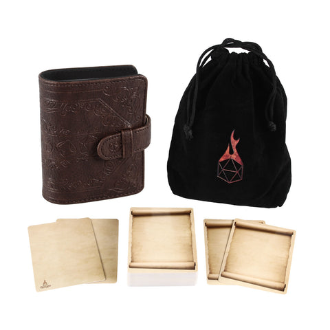 Book of Incantations (Dice Edition) & Deck of Dry Erase Spell Cards with Velvet Storage Bag - Spellbook Cards Holder for Spell or Monster Cards
