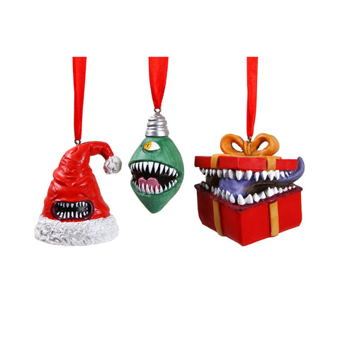 Monstrous Merrymakers Holiday Mimic Ornament Set of 3 Resin and Hand Painted Mimic Santa Hat, Christmas Tree Lightbulb, and Gift Box DND Monster Ornaments