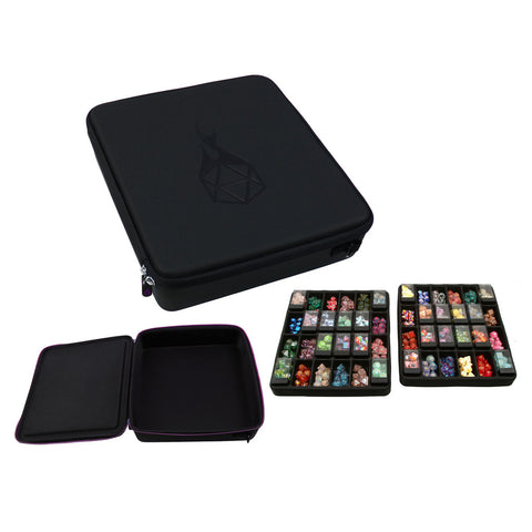 Double Dice Tray Dice Case - Holds 40 Chessex Plastic Dice Storage Cubes or 14 Dice Per Section up to 560 Total Dice