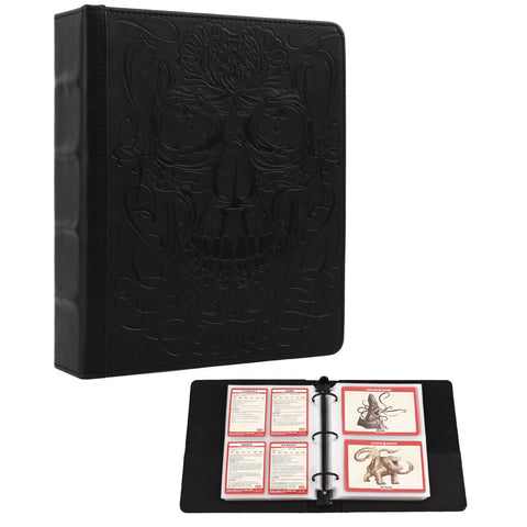 Forged Dice Co Curiosities Cache Monster Card & Spellcard Organizer Binder with Pages (Skull Edition) Spellbook Cards Holder for Spell & Monster Cards - Fits D&D MTG Magic Pokemon Yugioh Cards