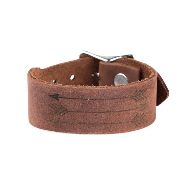 BROWN ARROW LEATHER BAND