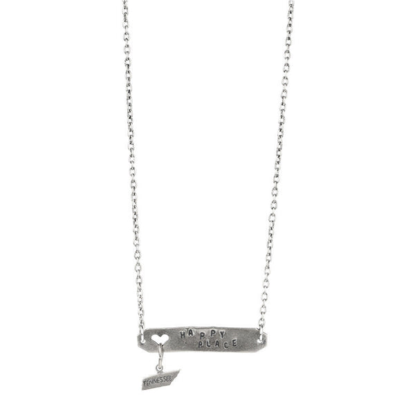HAPPY PLACE NECKLACE PEWTER