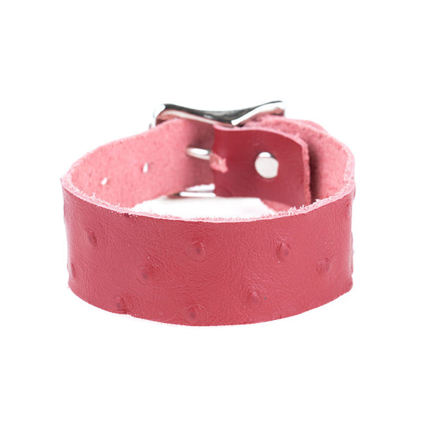 RED OSTRICH LEATHER BAND