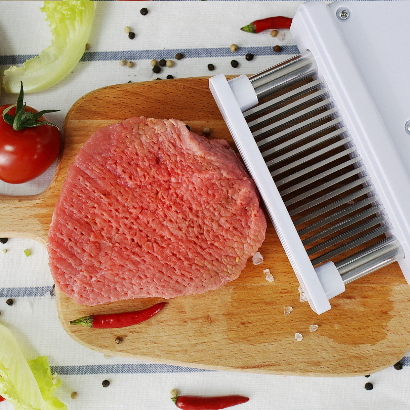 Meat Tenderizer 48 Blades Stainless Steel Hand Press for Steak, Chicken, Pork