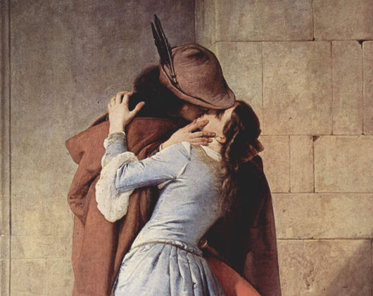 Medieval kiss writing prompt man in cloak kissing woman in long blue gown