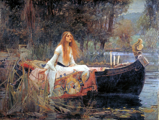 The Lady of Shalott in a carved medieval boat on the river