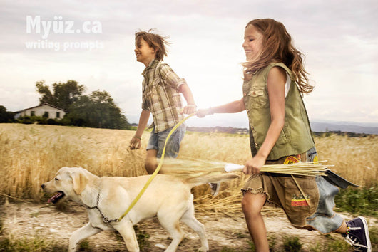 creative writing course image boy and girl running happily through field with puppy