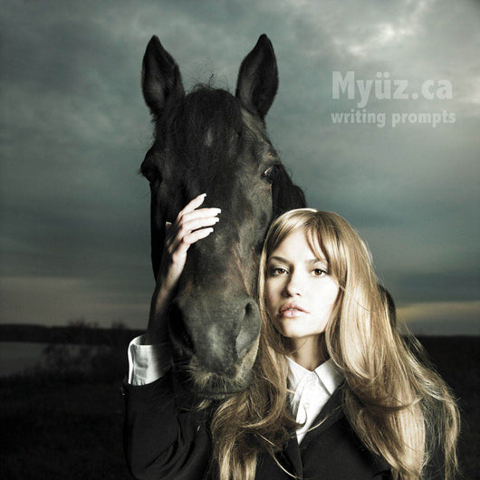 Myuz writing booklet dramatic image of blonde girl and black horse with storm in background