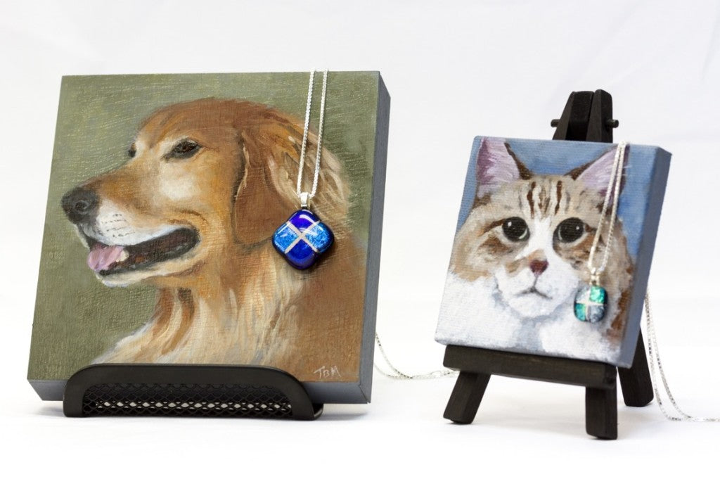 Two new pet memorial packages, each offering a portrait and a pendant