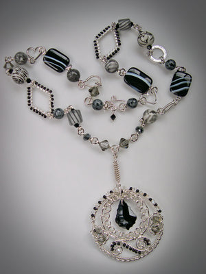 Bohemian Tuxedo gemstone, crystal and sterling silver statement necklace