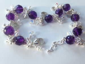 Amethyst and crystal cha cha bracelet
