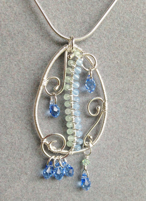 Gentle Waves gemstone and crystal pendant