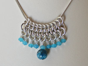 Apatite and agate chainmaille slider pendant