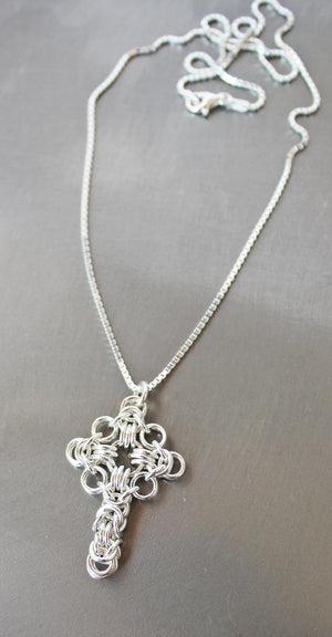 Byzantine Celtic chainmaille cross pendant