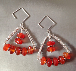 Chunky carnelian and silver triangle earrings