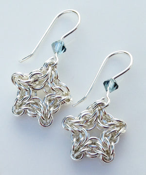 Little silver star chainmaille earrings