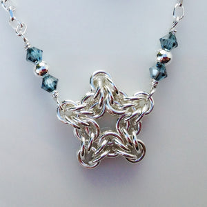 Little silver star chainmaille necklace
