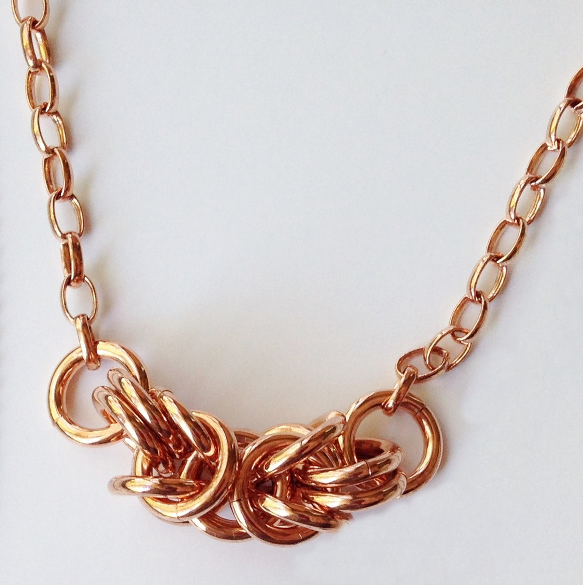 Bold copper Byzantine chainmaille necklace