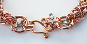 Copper Byzantine chainmaille and crystal bracelet