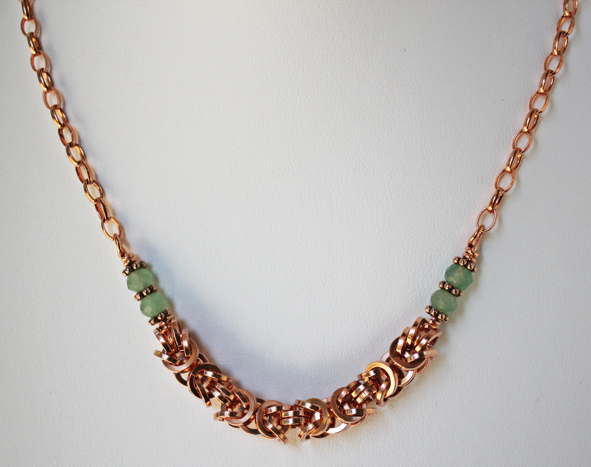 Copper and green aventurine Byzantine chainmaille necklace