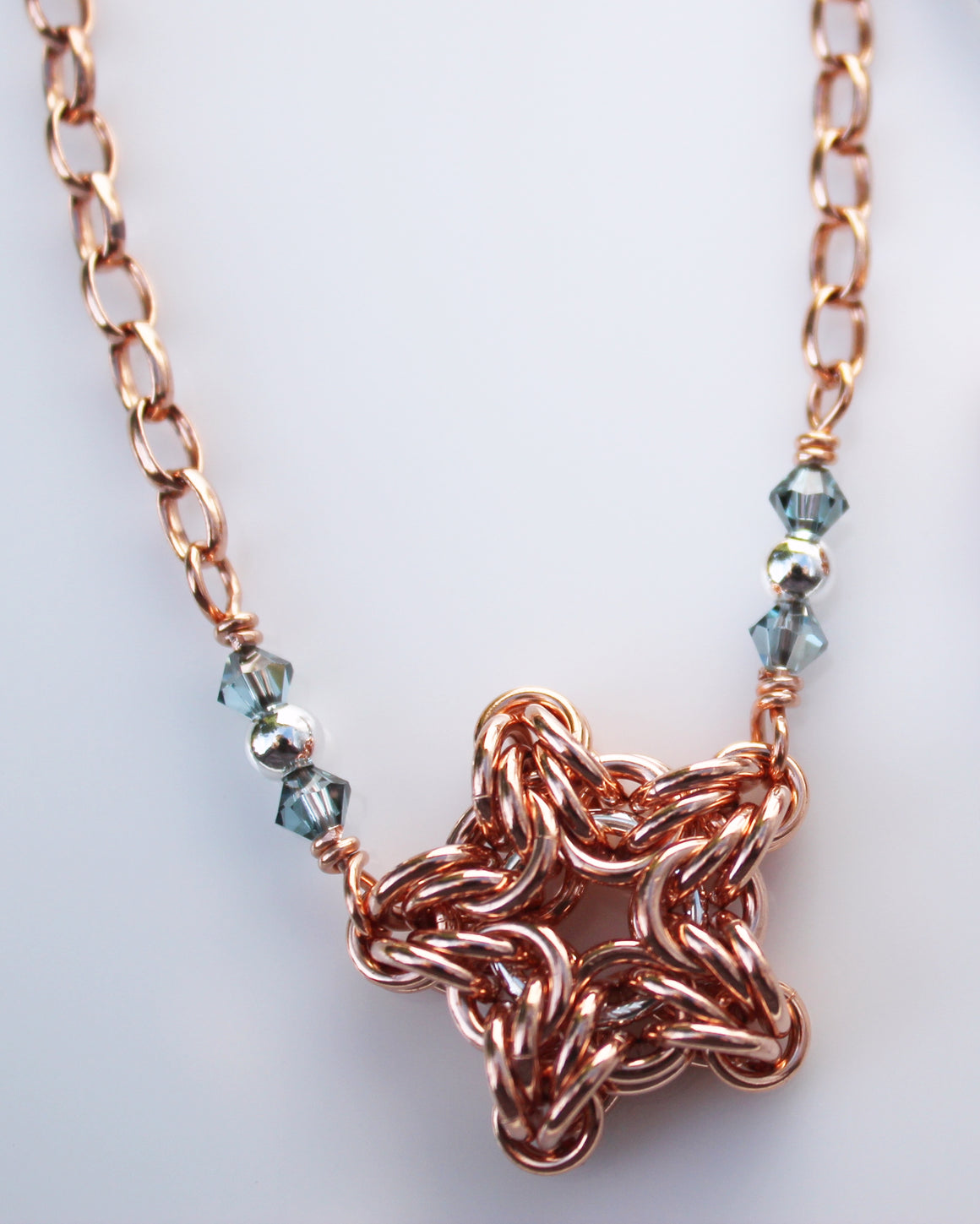 Copper star chainmaille necklace