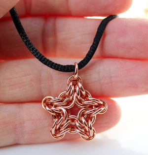 Copper star chainmaille pendant