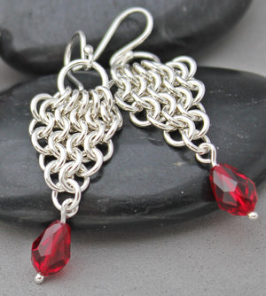 Red crystal chainmaille earrings