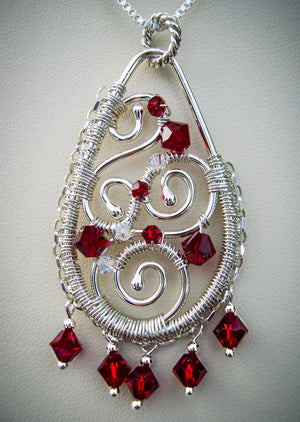 Crimson Swirls crystal and wire wrapped pendant