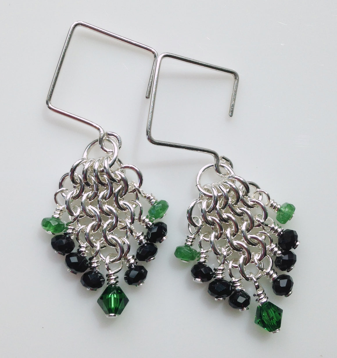 Emerald, onyx and crystal chainmaille earrings