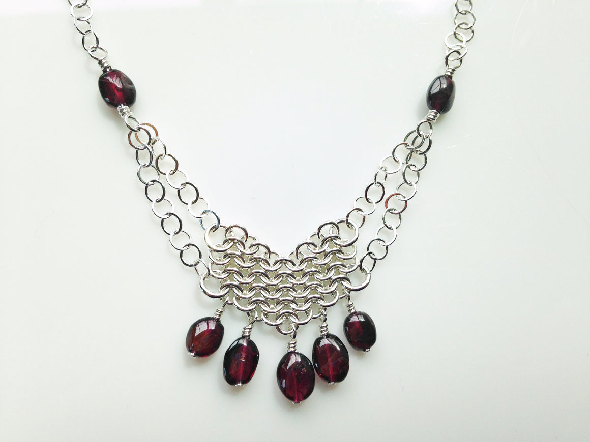 Garnet chainmaille necklace
