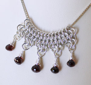Faceted garnet chainmaille slider pendant