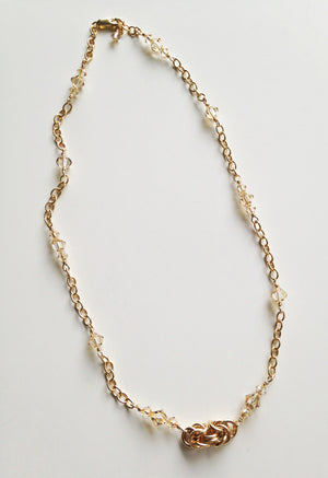 Golden Flash Byzantine chainmaille and crystal necklace