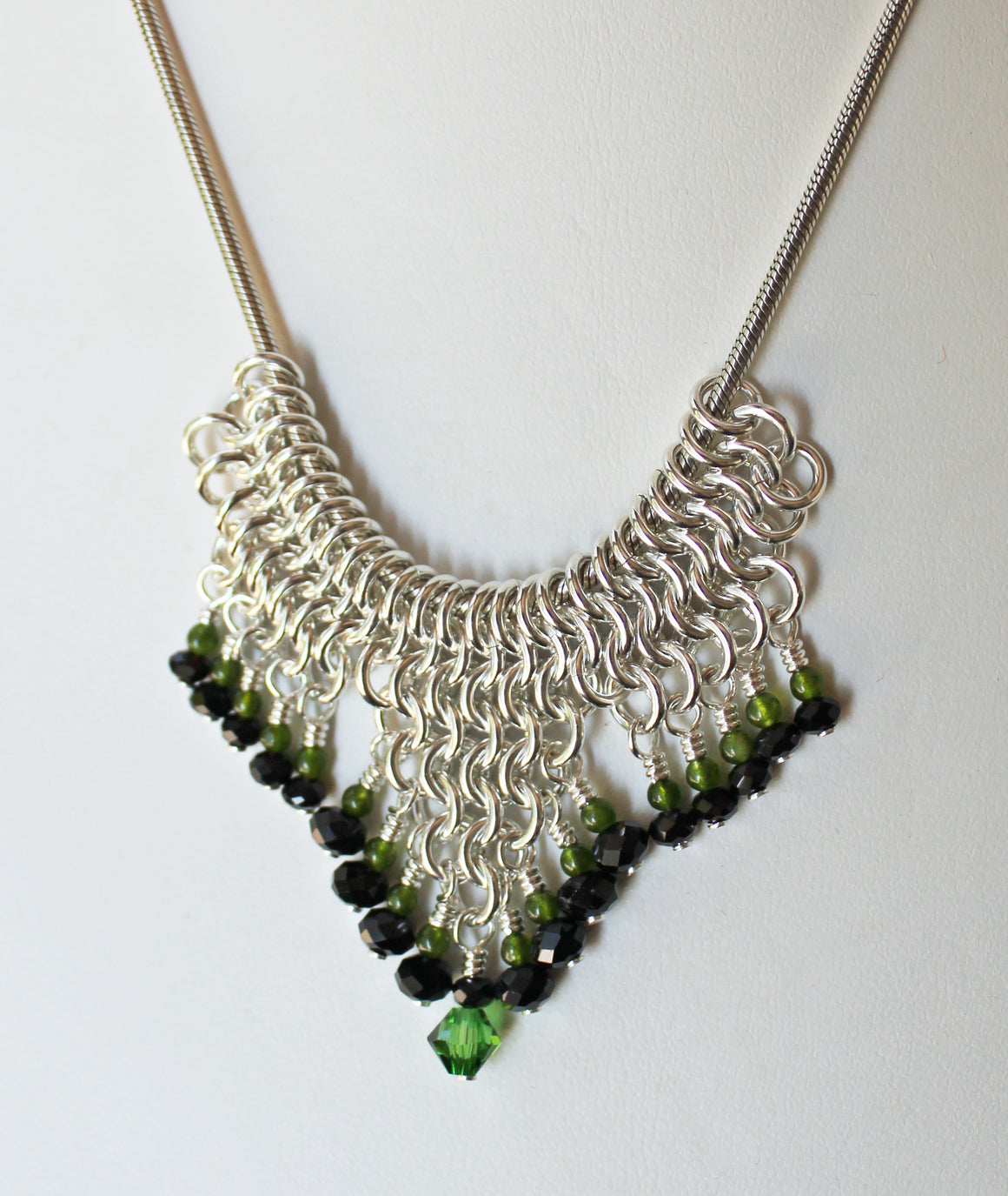 Black onyx and jade chainmaille slider pendant