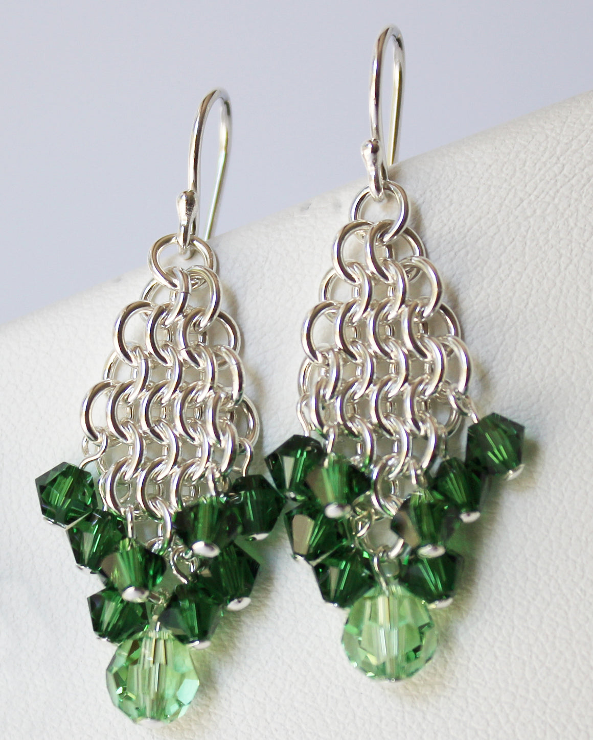 Green crystal chainmaille earrings