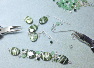 Green zebra cha cha bracelet and earring set